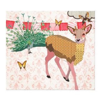 Golden Rose Deer & Peacock Pink Canvas Art Canvas Print
