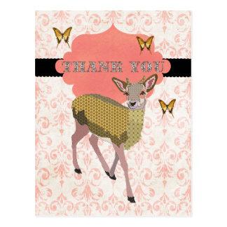 Golden Rose Deer Thank You Postcard