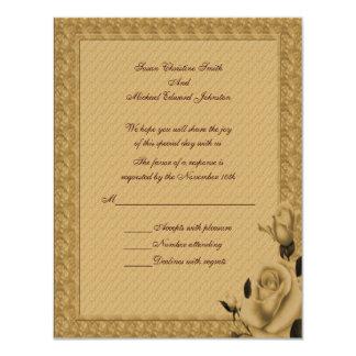 Golden Rosebuds Floral Wedding Response RSVP Card