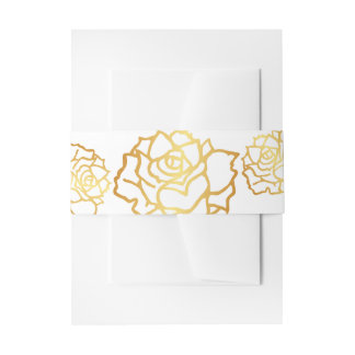 Golden Roses Belly Bands - White Invitation Belly Band