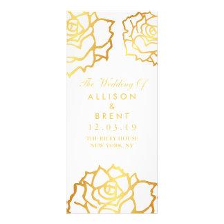 Golden Roses Wedding Program - White Rack Card Template