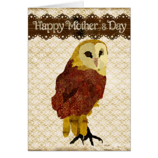 Golden Ruby Owl Mother's Day Card