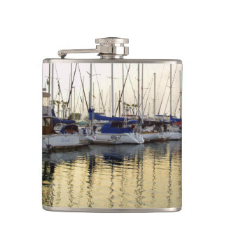 Golden Sailboat & Ocean Reflection Flask