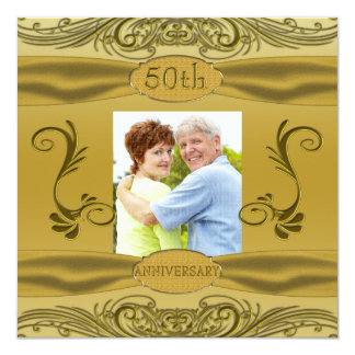 "Golden Scrolls 50th Wedding Anniversary 5.25"" Square Invitation Card"