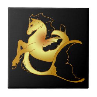 Golden Sea Horse Small Square Tile