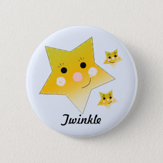Golden Smiley Stars - Twinkle 6 Cm Round Badge