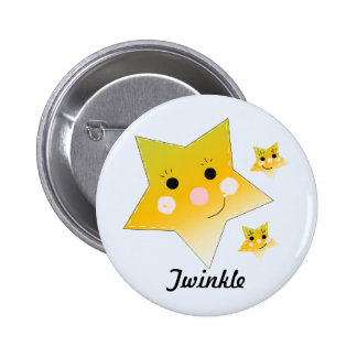 Golden Smiley Stars - Twinkle 6 Cm Round Badge