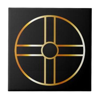 Golden southern cult solar cross symbol tile