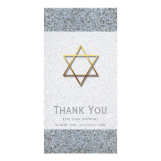 Golden Star of David Stone 1 Sympathy Thank You - Photo Card Template