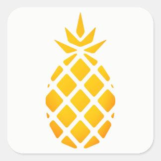 Golden Stencil Hawaiian Pineapple Square Sticker