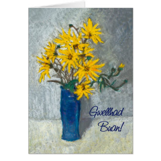 Golden Sunflowers Get Well Card, Welsh Greeting Greeting Card