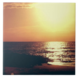 Golden Sunset over Water Gulf Coast Photo Tile