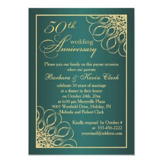 Golden swirls 50th Wedding Anniversary photo 11 Cm X 16 Cm Invitation Card