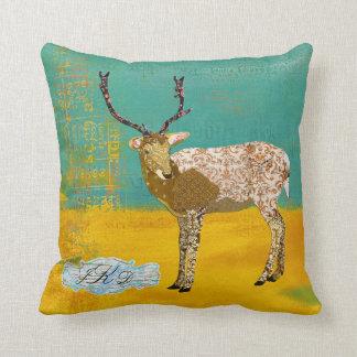 Golden Teal Ornate Deer Monogram  Mojo Pillow