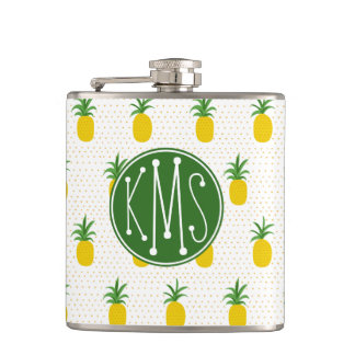 Golden Tropical Pineapples   Monogram Hip Flask