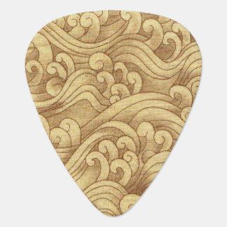 Golden Tsunami Ocean Tidal Waves Wheat Color Sea Guitar Pick
