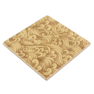 Golden Tsunami Ocean Tidal Waves Wheat Color Sea Wood Coaster