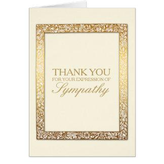 Golden Vintage Frame - Sympathy Thank You Stationery Note Card