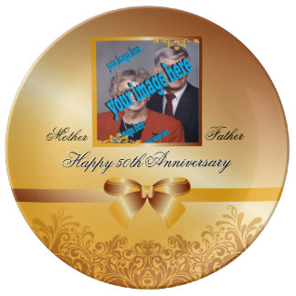 Golden Wedding 50th Anniversary Customizable Porcelain Plates