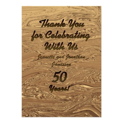 Golden Wedding 50th Anniversary Thank You 2Sided Custom Invitation