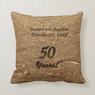"Golden Wedding Anniversary 16"" Square Pillow"