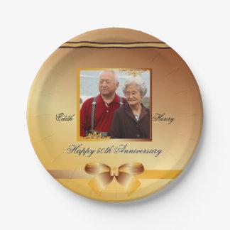 Golden Wedding Anniversary Customizable Disposable Paper Plate
