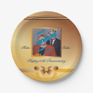 Golden Wedding Anniversary Customizable Disposable Paper Plate
