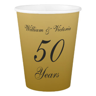 Golden Wedding Anniversary Paper Party Cups