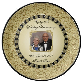Golden Wedding Anniversary Porcelain Photo Plate