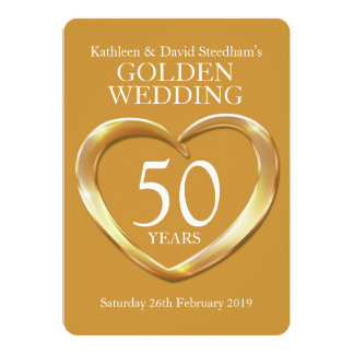 Golden wedding heart 50 years gold party invite