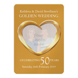 Golden wedding heart photo 50 years party invite