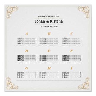Golden Wedding Seating Chart Poster
