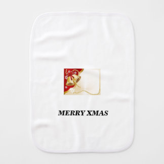 golden xmas bell burp cloth