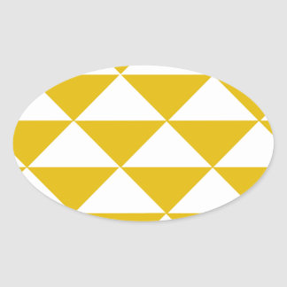 Golden Yellow and White Triangles Oval Sticker