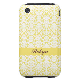 Golden yellow damask pattern custom name personal tough iPhone 3 cover