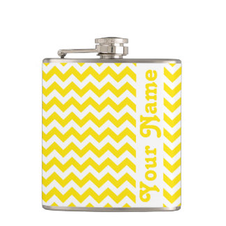 Golden Yellow Safari Chevron w/ customizable name Hip Flask