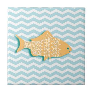 Goldfish on mint blue chevron ceramic tile