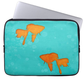 Goldfish silhouette turquoise water Laptop sleeve