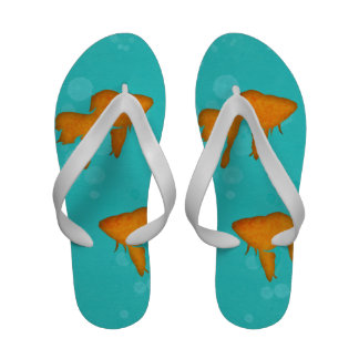 Goldfish silhouettes in turquoise water Flip flops