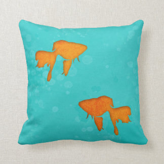 Goldfish silhouettes turquoise water Throw pillow
