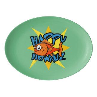 Goldfish Smiling Sun Persian New Year Nowruz Porcelain Serving Platter