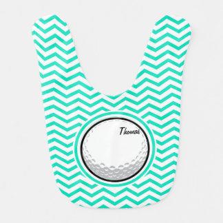 Golf Ball; Aqua Green Chevron Bib