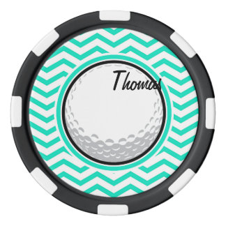 Golf Ball; Aqua Green Chevron Poker Chips