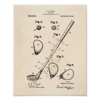 Golf Club 1910 Patent Art - Old Peper Poster