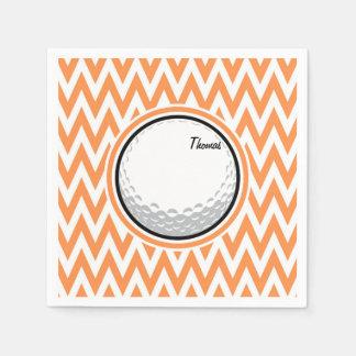 Golf; Orange and White Chevron Disposable Serviette