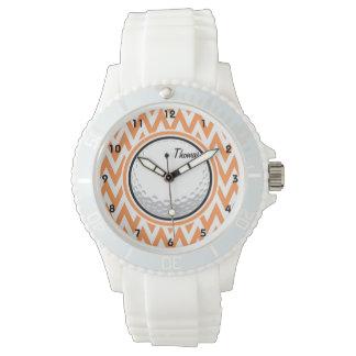 Golf; Orange and White Chevron Wrist Watches