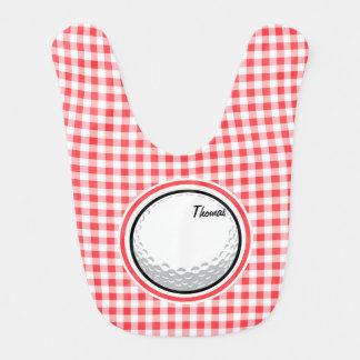 Golf; Red and White Gingham Bib