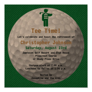 Golfball Green Golf Retirement Party Invitation