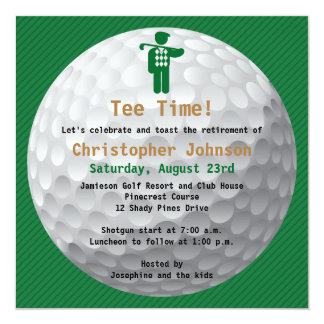 Golfball Green Golf Retirement Party Invitation