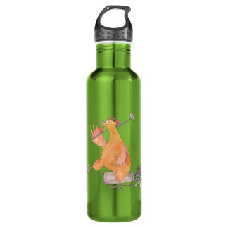 Golfing Rooster Water Bottle
